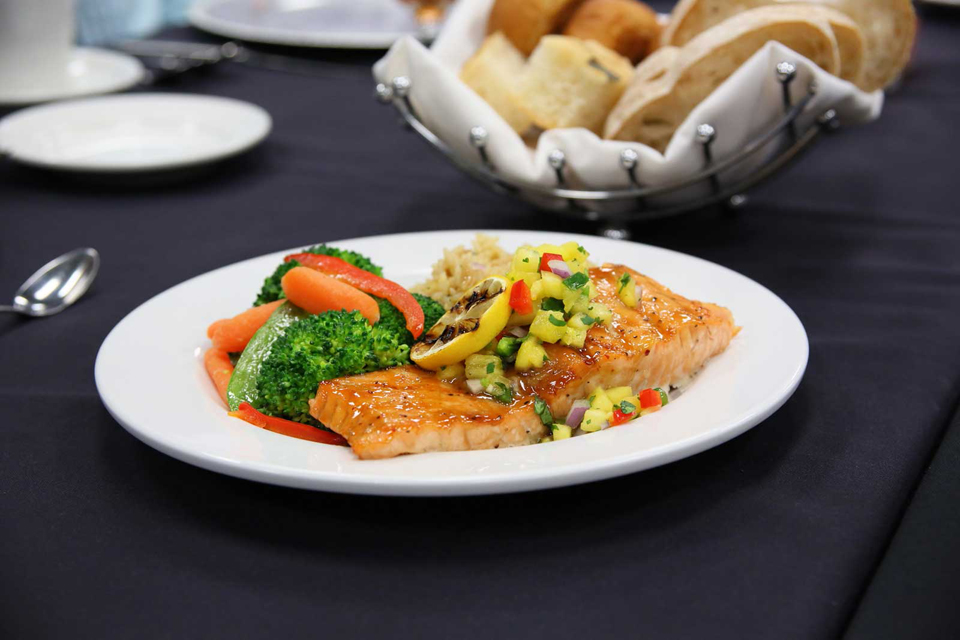 Baked fish, rice and vegetable a Norris chef recipe