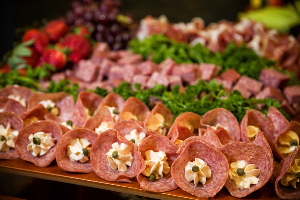 Red Oak Ballroom catering of a fanciful meat tray