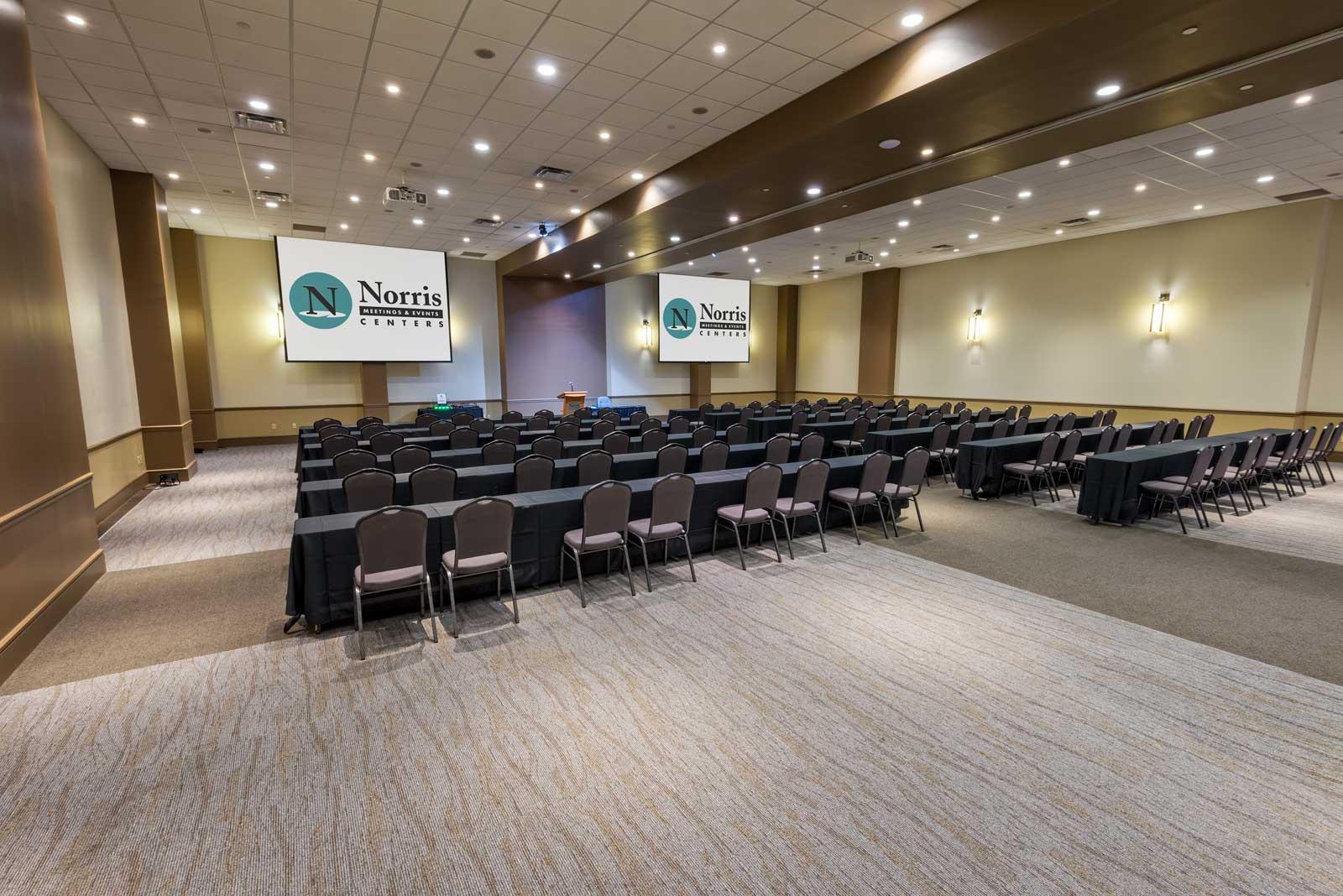 Norris Centers in Austin, Red Oak Ballroom set classroom style