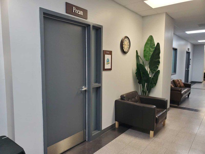 Norris Centers Dallas facility door to Pecan Room