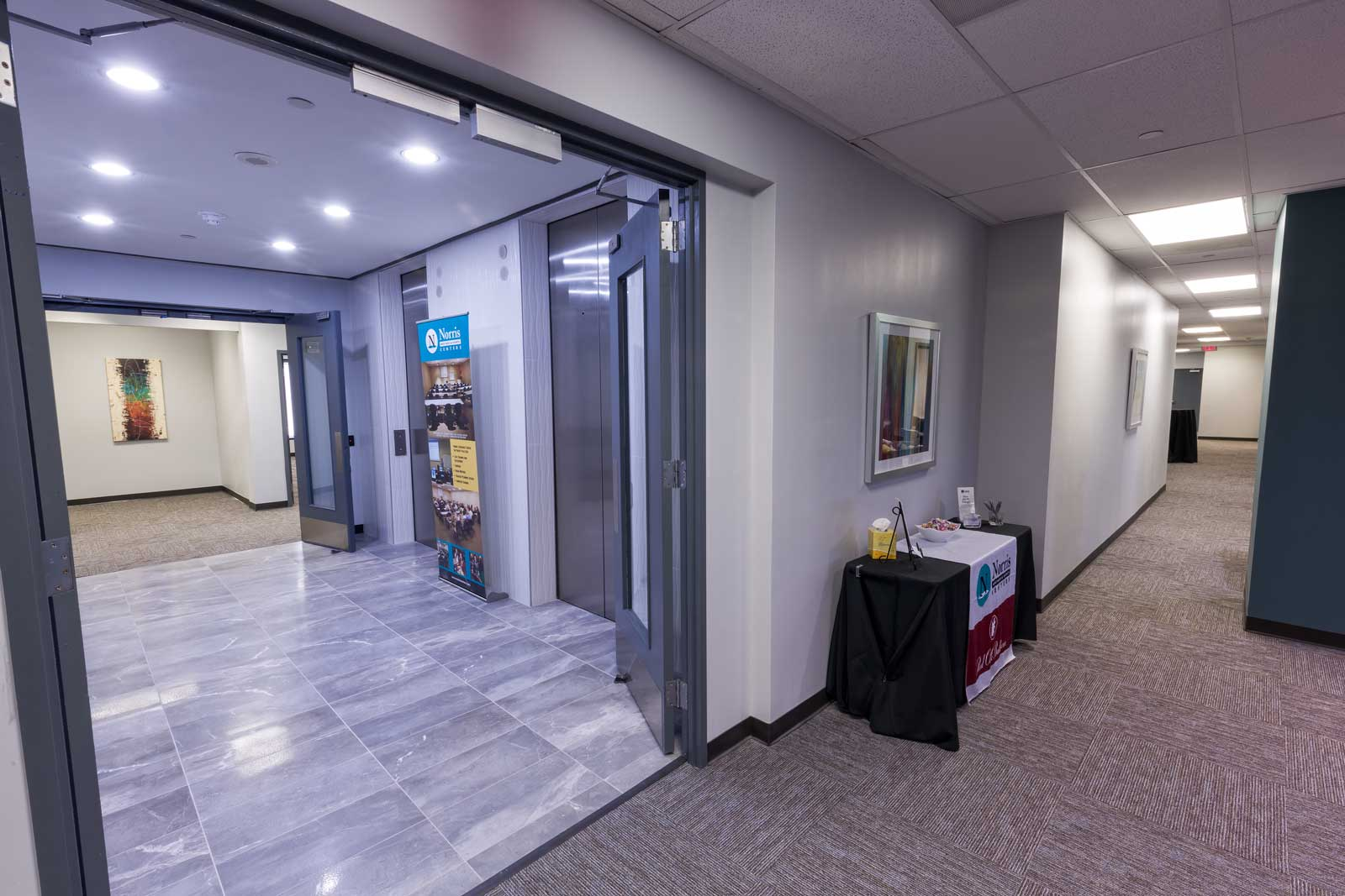 Norris Centers Dallas, View of Elevators and Hallway